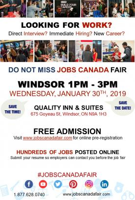 Windsor Job Fair – January 30th, 2019, windsor
